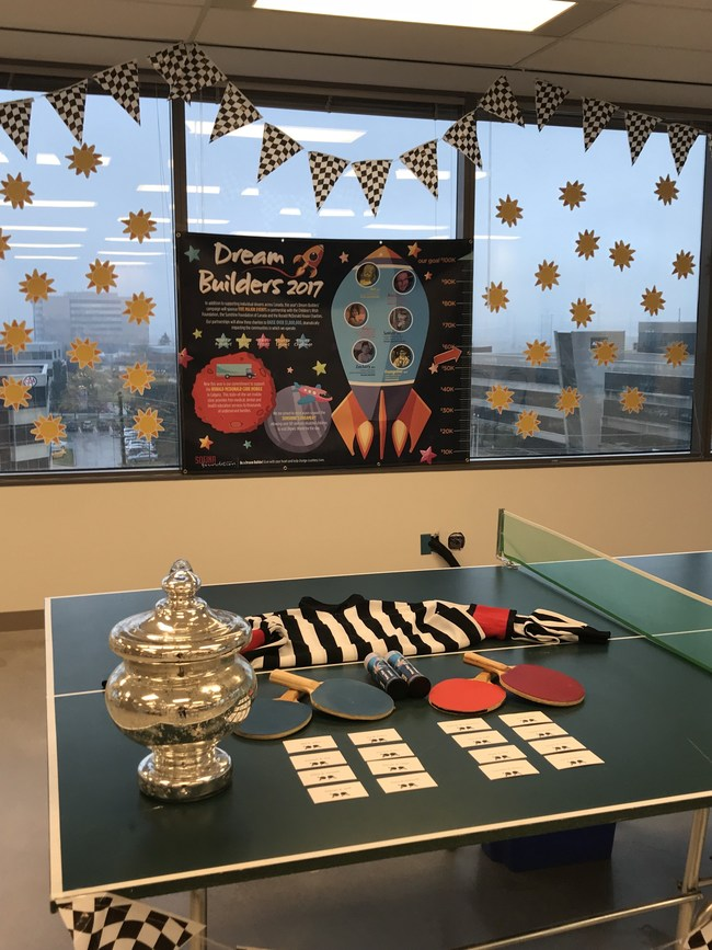 The Markham office ping-pong tournament was one of the Sofina Foundation's many popular fundraising events! (CNW Group/Sofina Foods Inc.)
