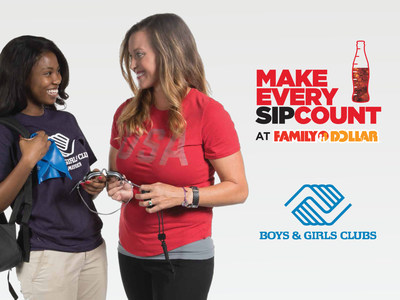 As part of the Make Every Sip Count campaign, when shoppers throughout the U.S. buy participating Coca-Cola products such as Coke Zero Sugar, Sprite, Fanta and POWERADE at their local Family Dollar store, 15 percent of purchases, up to $1 million will be donated to Boys & Girls Clubs of America. Brooke Bennett, three-time Olympic Gold Medalist, is one of many Americans whose life was positively impacted by the Boys & Girls Clubs of America.