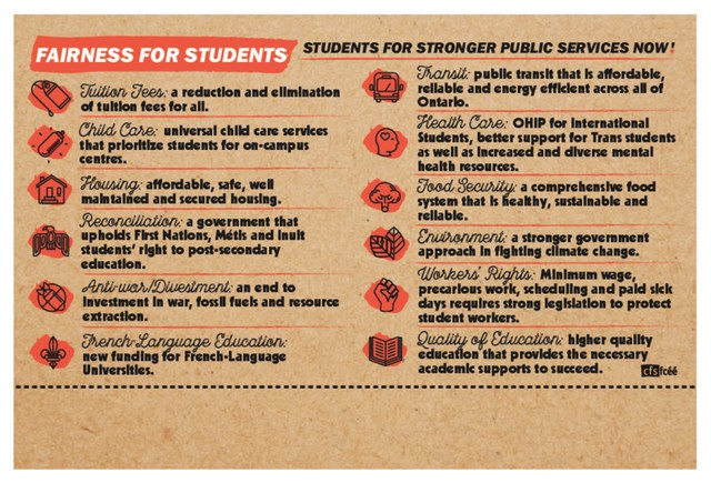 Fairness for Students, a campaign by the Canadian Federation of Students seeking for more funding into Public Services. (CNW Group/Canadian Federation of Students - Ontario)