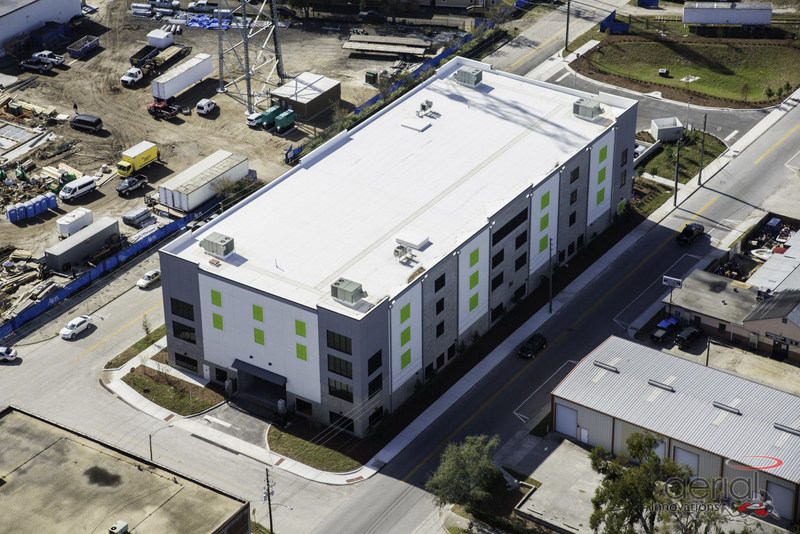 Aerial photo of brand new Extra Space Self Storage in downtown St. Petersburg, Florida