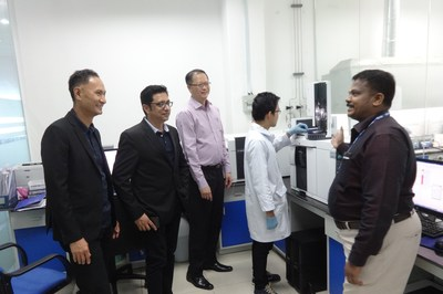 Seen in the photo are (L to R) : Richard Hong, CEO, ASEAN, TÜV SÜD PSB Pte. Ltd, Niranjan Nadkarni, CEO - South East Asia, South Asia, Middle East & Africa, Goh Wee Hong, SVP, Product Services, ASEAN and Sathish Kumar Somuraj, General Director, Vietnam during their visit to the state-of-the art Lab in Vietnam (PRNewsfoto/TÜV SÜD)