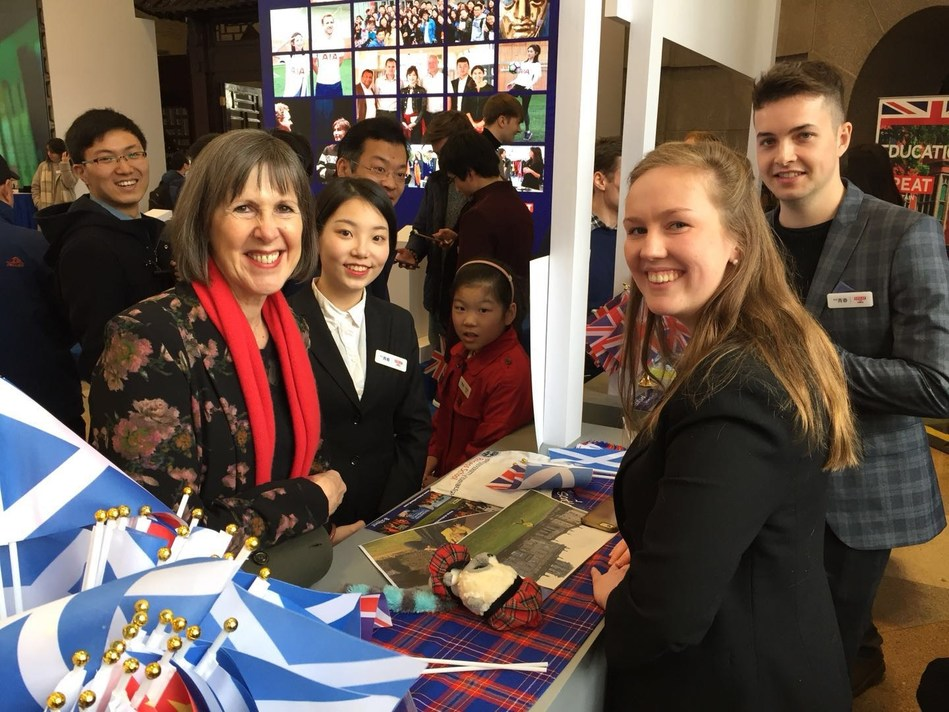 Professor Dame Janet Beer (left wearing a red scarf) at the launch of the 'English is GREAT' campaign in Wuhan