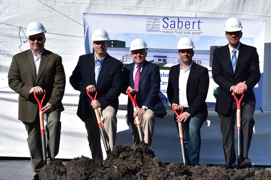 The Sabert team at the ground breaking ceremony. From left to right: Donald McFarland, Engineering & Maintenance Manager, Steve Roberts, Greenville Plant Manager, Albert Salama, Founder & CEO, Fernando Marin, Senior Pulping Process Engineer, and Thomaz Gruber, Senior Vice President Operations & Supply Chain.