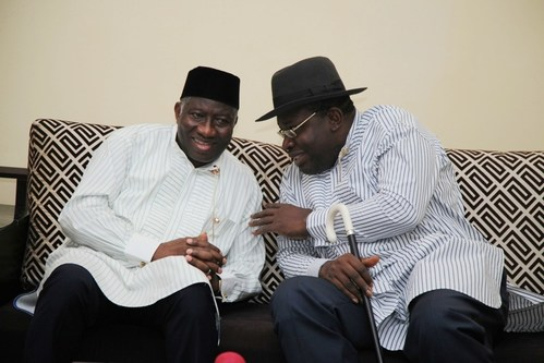 Governor of Bayelsa State, Hon. Seriake Dickson (right) explains a point to former President Goodluck Jonathan (left) during a high level consultative meeting of Ijaw leaders in Yenagoa. Photo by Lucky Francis (PRNewsfoto/The Governor's Office, Bayelsa)