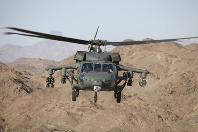 S-70 Black Hawk helicopter armed with four forward-firing guns, rocket pod and laser-guided missiles
