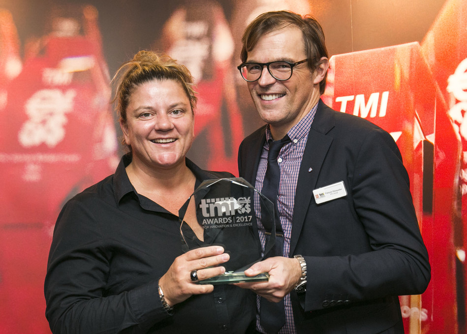 From left: Sales Director Tasja Botha of Openlink and François Masquelier,Treasurer of RTL Group, pick up the 2017 TMI Award for Innovation & Excellence in Risk Management from Treasury Management International at an awards ceremony in London on February 1.
