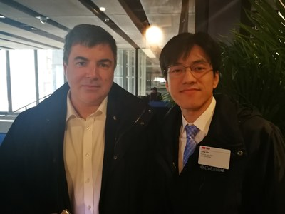 Leo Zhu (R), CEO and co-founder of YITU Technology and Professor Sir Kostya Novoselov, Nobel laureate at China-UK Business Forum in Shanghai on Feb 2.
