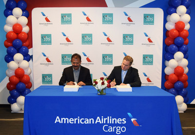 V K Mathews, Executive Chairman, IBS Group and Rick Elieson, President, American Airlines Cargo signing the deal