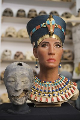 "The facial reconstruction of the ""Younger Lady"" mummy next to a 3D replica of its head created from digital mapping."