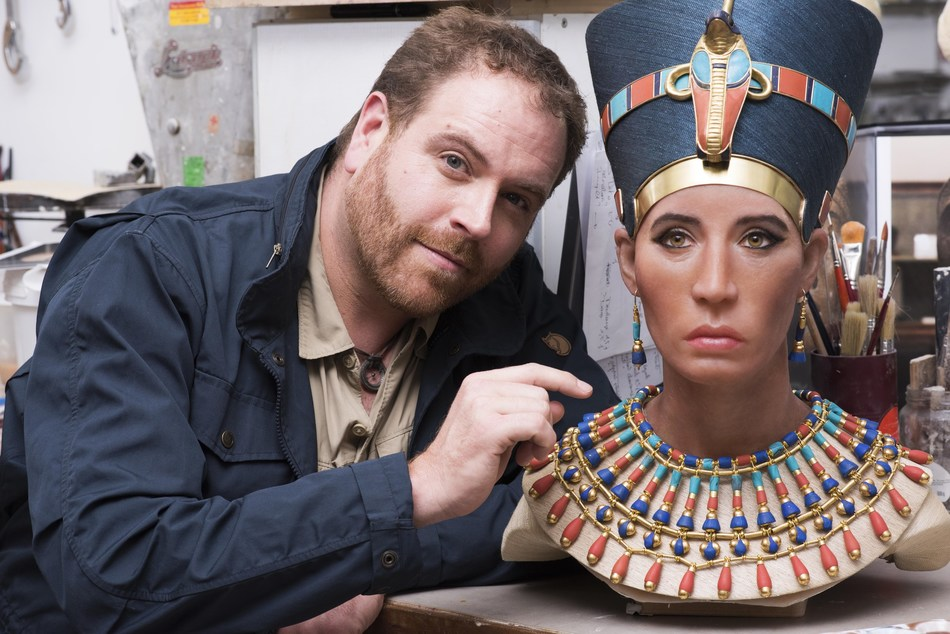 "Host of 'Expedition Unknown,' Josh Gates examines the sculpture of the ""Younger Lady"" mummy in the Paris studio of paleoartist Elisabeth Daynès."