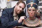 """Host of 'Expedition Unknown,' Josh Gates examines the sculpture of the """"Younger Lady"""" mummy in the Paris studio of paleoartist Elisabeth Daynès."""