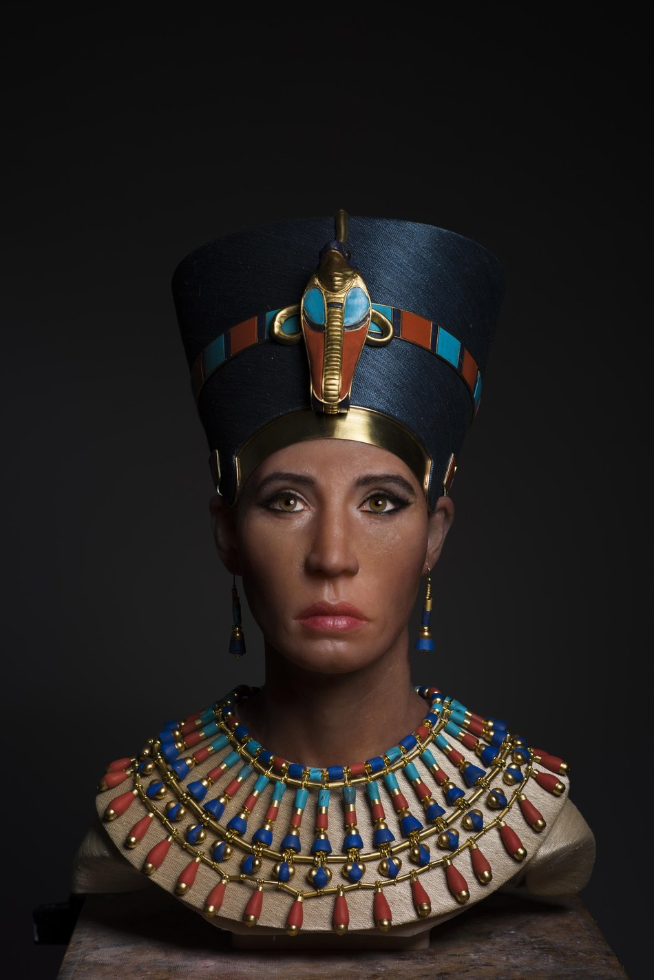 "The facial reconstruction sculpture of the 3,400-year-old mummy of King Tut's biological mother, nicknamed the ""Younger Lady,"" as seen on Travel Channel's 'Expedition Unknown.'"