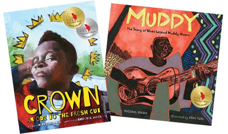 The 2018 Ezra Jack Keats Book Award winner for writer is Derrick Barnes, for Crown: An Ode to the Fresh Cut (left; published by Agate Bolden/Denene Millner Books). The winner for illustration is Evan Turk, for Muddy: The Story of Blues Legend Muddy Waters (right; published by Atheneum Books for Young Readers). The EJK Book Award recognizes talented authors and illustrators early in their careers whose picture books, in the spirit of Keats, portray the multicultural nature of our world.