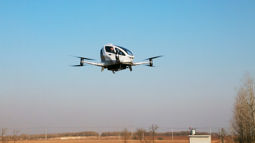 EHANG 184 AAV Manned Flight Test by EHANG CEO Mr. Hu Huazhi