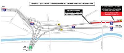 Entraves dans le secteur ouest pour la fin de semaine du 9 février (Groupe CNW/Ministère des Transports, de la Mobilité durable et de l'Électrification des transports)
