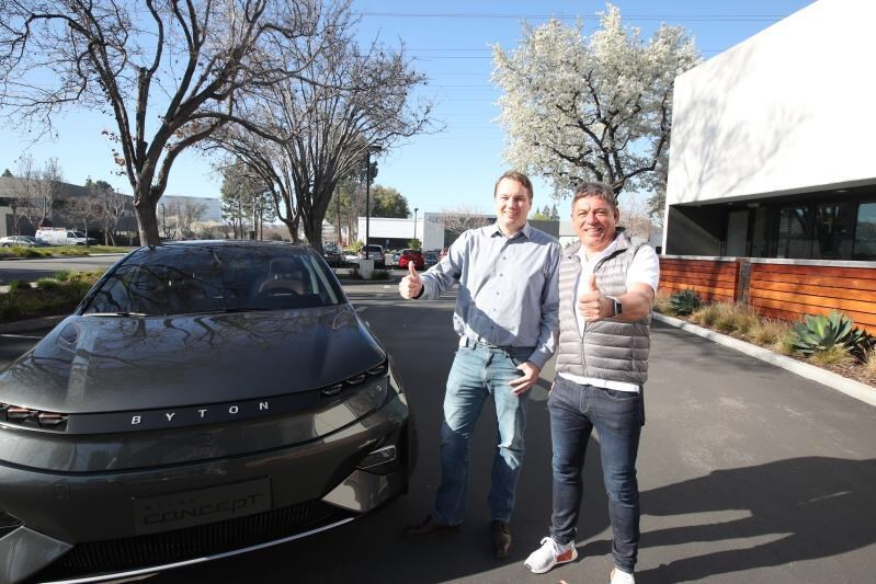 Chris Urmson, CEO and Co-Founder of Aurora, and Dr. Carsten Breitfeld, CEO and Co-Founder of BYTON, pose in front of BYTON Concept, following the announcement of a partnership between the two companies to jointly conduct pilot deployment of Aurora's L4 autonomous driving systems on BYTON vehicles