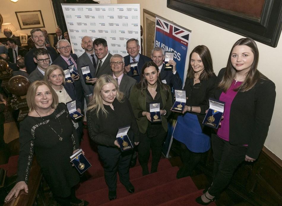 Pictured - Irish National Winners with Adrian Tripp - CEO European Business Awards, H.E. Robin Barnett - British Ambassador to Ireland.  Photo credit  - Paul Sherwood (PRNewsfoto/European Business Awards)