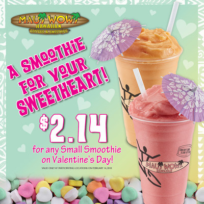 Celebrate Valentine's Day at Maui Wowi with small smoothies for just $2.14, at participating locations.