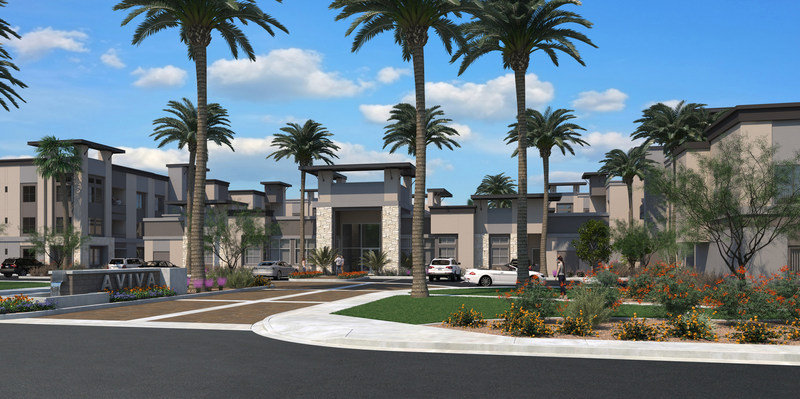 """Mesa, Ariz. multifamily community Aviva marries luxury design elements with """"green"""" building features to create the kind of smart, amenity-rich apartment community that today's renters demand. It is the first multifamily community in the area built to National Green Building Standard™ (NGBS) certification."""
