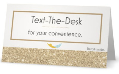 Text-The-Desk™ sample card found in Hammock Worldwide® hotels & resort properties.