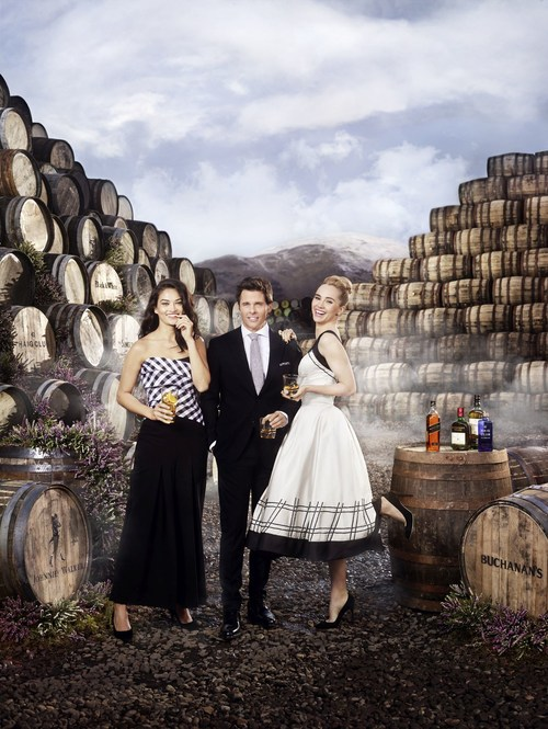 Model Shanina Shaik, Actor James Marsden and actress Suki Waterhouse gathered at the Cambus Cooperage in Scotland as they were announced as the Global Ambassadors for International Scotch Day, taking place on February 8th. (PRNewsfoto/Diageo)