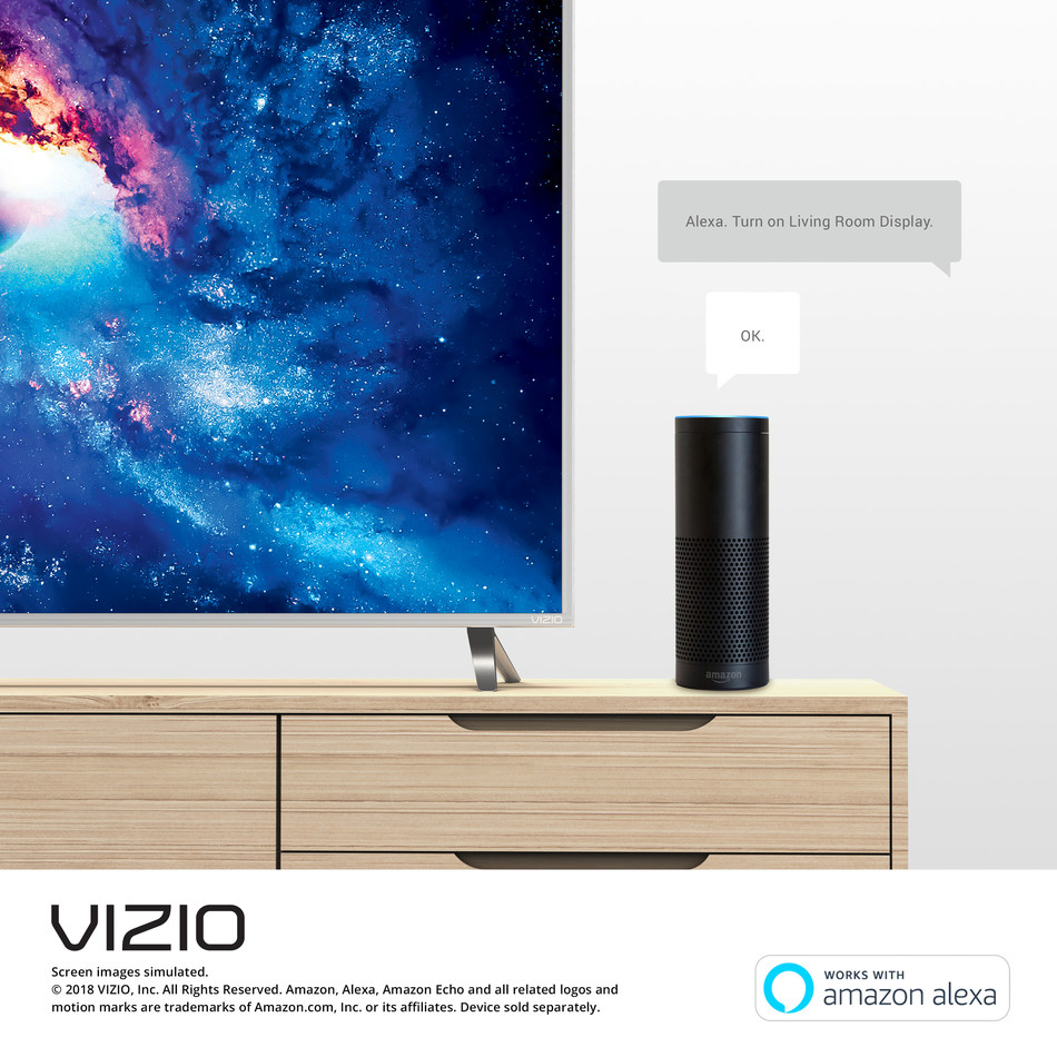VIZIO introduces skill for Amazon Alexa to enable easier-than-ever control of select VIZIO SmartCast Displays. Users with Amazon Prime Video can now also stream HDR content on VIZIO 4K HDR displays.
