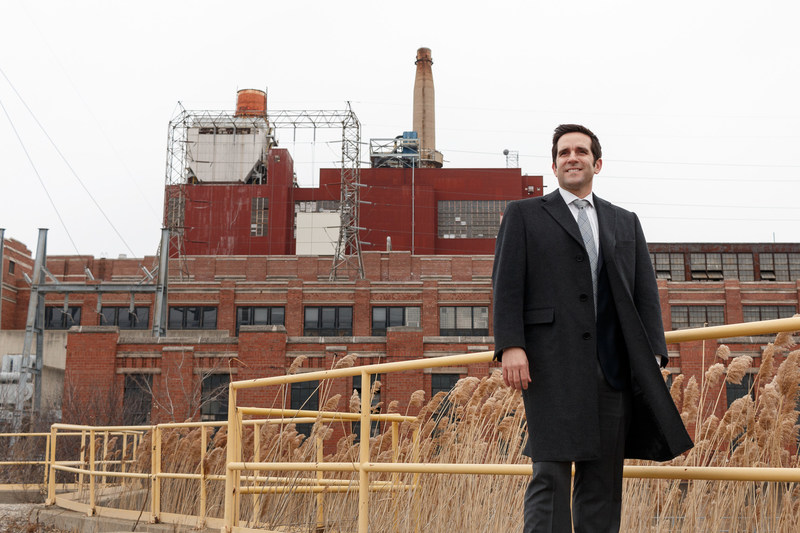 "Roberto Perez, Managing Partner, President, Hilco Real Estate Redevelopment Partners at the Crawford Power Generating Station site that Hilco plans to remediate and transform into an economic engine in the Little Village neighborhood/Chicago. The 70-acre site, shuttered since 2012, holds great promise as a ""last-mile"" distribution and logistics facility.  PHOTO CREDIT:  Jon Shaft"