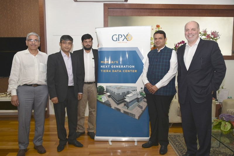 Mr. Nicholas Tanzi, CEO GPX Global and Mr. Manoj Paul, MD GPX India met CM Mr. Devendra Fadnavis and Mr. Sunil Porwal, Principal Secretary – Industries, to discuss GPX's plans to invest Rs. 300 crores for their second Data Centre in Mumbai (PRNewsfoto/GPX Global Systems Inc.)