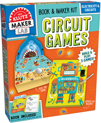 Klutz Maker Lab: Circuit Games ($24.99 - February 2018). Ages 8 and up. Spark your interest in circuitry! Get ready to be amazed with this electrifying combination of five circuit games to build from scratch. Use actual electronic components to construct a DIY operation game, compete with friends in a Space Loop race, assemble a quiz show board, and more. A step-by-step book of instructions teaches you how to be a maker by adding wires, LEDs, and buzzers for super-charged fun.