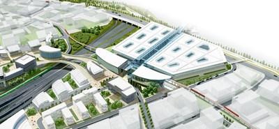 Rendu d'architecture du concept proposé pour l'installation de traitement des passagers et le centre de transport en commun de l'aéroport international Toronto Pearson (Groupe CNW/Greater Toronto Airports Authority)
