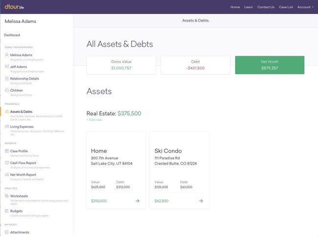 For the first time, spouses and their legal teams can now digitally address the paperwork requirements of divorce - customers can easily build asset and debt worksheets, calculate living expenses, and create budgets that can be securely shared.