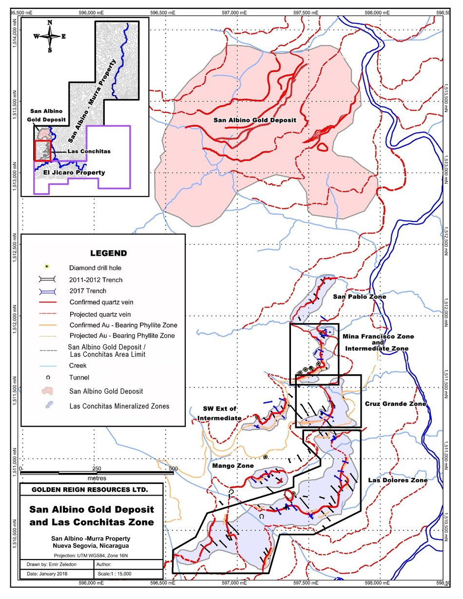 San Albino Gold Deposit and Las Conchitas Zone (CNW Group/Golden Reign Resources Ltd.)