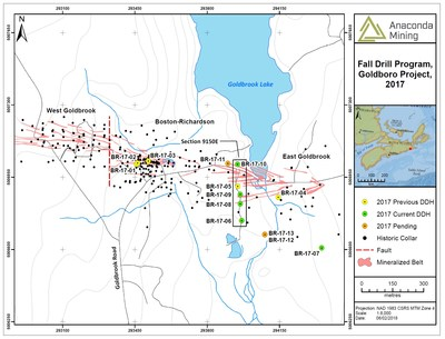 Exhibit A.  A map showing the location of the Goldboro Deposit projected to surface and the location of recent drill holes as well as historic drill collar locations. The drill holes associated with Section 9150E are seen in the black rectangle. (CNW Group/Anaconda Mining Inc.)