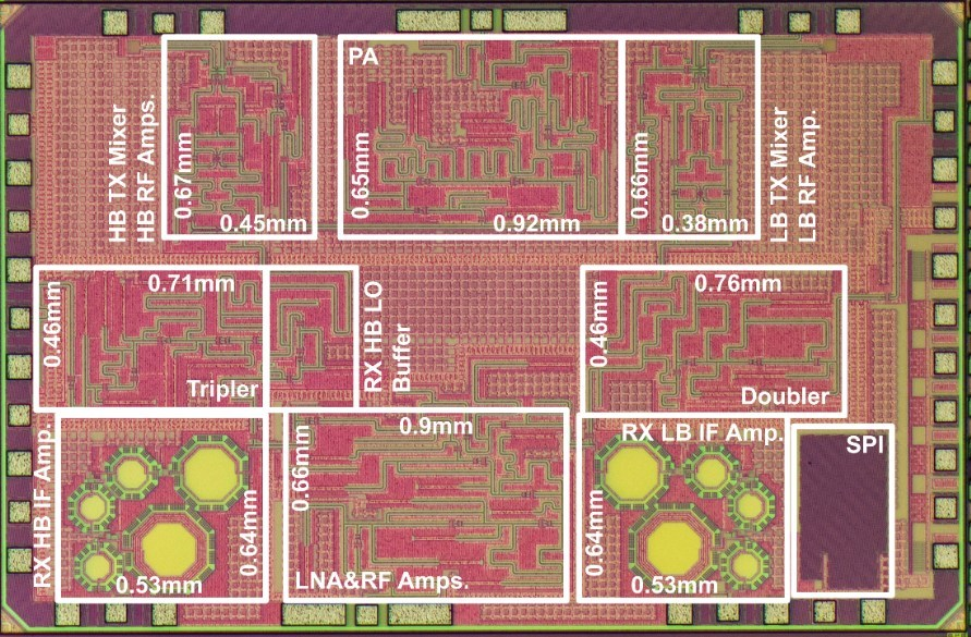 Figure 1. CMOS wireless transceiver chip that achieved wireless communication at 120 Gbps