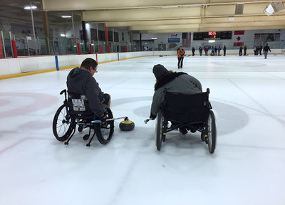 Injured veterans learn the basics of curling during a recent Wounded Warrior Project connection event in California.