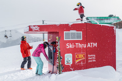 "World''s only Ski-Thru ATM returns to Whistler Blackcomb with a ""twist"" as CIBC supports Canadian ski team athletes with a Twitter enabled, snowboarding penguin. (CNW Group/CIBC)"