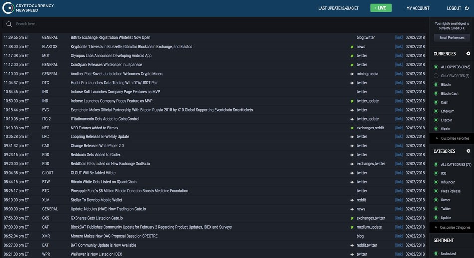 Cryptocurrency Newsfeed screenshot