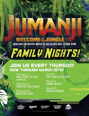 Ovation Brands and Furr's Fresh Buffet welcome guests to join in on a fun adventure with Jumanji: Welcome to the Jungle Family Nights from February 8 through March 15.