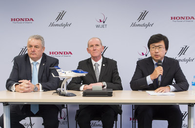 Mr. Simon Roads, senior division director of sales at Honda Aircraft Company, Mr. Michimasa Fujino, CEO of Honda Aircraft Company, and Mr. Patrick Hersent, CEO of Wijet, after signing a Memorandum of Understanding (MoU) today for multiple HondaJets to upgrade the Wijet fleet.