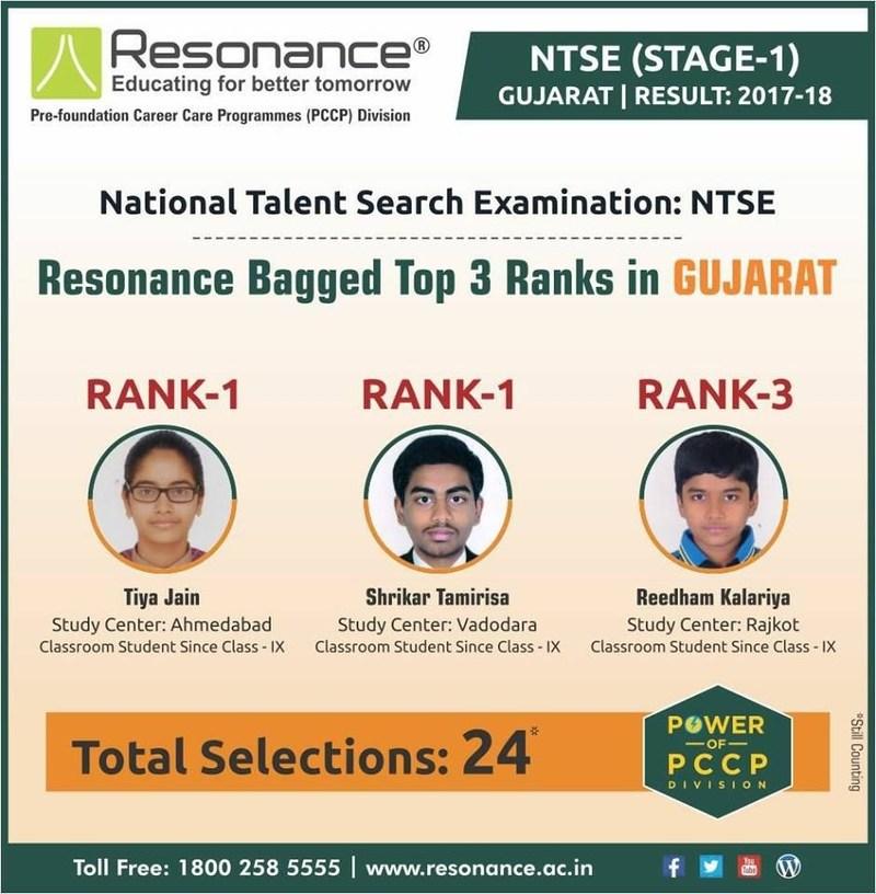 Resonance bagged top 3 Ranks in NTSE Stage-1, Gujarat (PRNewsfoto/Resonance Eduventures Limted)