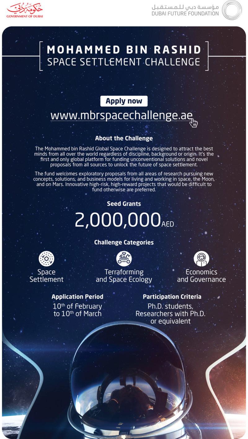 Settlement Challenge Fact Sheet (PRNewsfoto/Dubai Future Foundation)