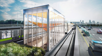 Architectural renderings of different stations and engineering works of the Réseau express métropolitain (REM). (CNW Group/CDPQ Infra Inc.)