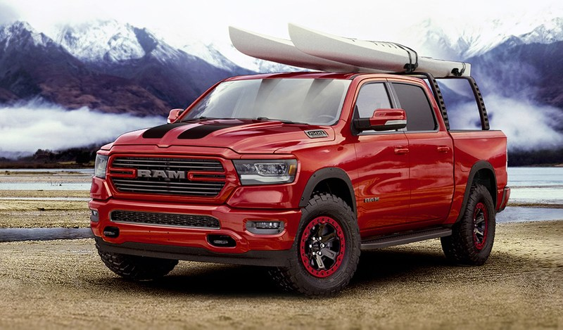 The outdoor-sport-themed 2019 Ram 1500 showcased at the Chicago Auto Show highlights the 200-plus Mopar parts and accessories available for the all-new truck.