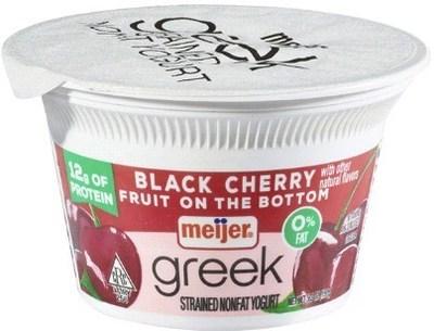 Meijer Greek Yogurt 0% Black Cherry 5.3 oz.