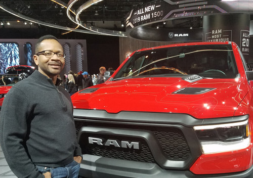 Eric Burnett, Automatic Transmission Chief Engineer, FCA US LLC with the 2019 Ram 1500 at the North American International Auto Show in January.  Burnett joins a long list of FCA US technical business leaders recognized over the years for their technical achievements, management skill, leadership and community service.