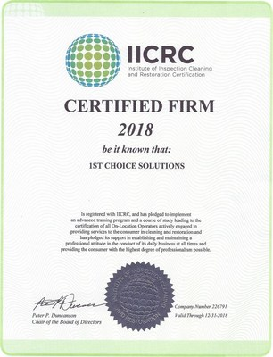 1st Choice Solutions in Chicago IL – IICRC Certified and Ready to Take It from Here