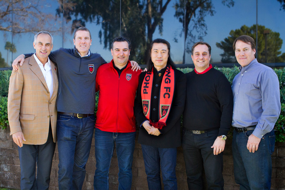 Phoenix Rising FC Board of Directors welcomes their newest owner and member, Alex Zheng.  Shown from left to right:  Co-Owner & Director - Tim Riester, Co-Owner & Co-Chairman – Brett Johnson, Co-Owner & Governor – Berke Bakay, Co-Owner & Director – Alex Zheng, Co-Owner & Director – Mark Detmer, Co-Owner & Director – William Kraus