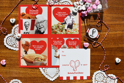 KFC's valentines come in four different intoxicating designs, each with a fried chicken scratch 'n' sniff patch, so your valentine can indulge in the heavenly aroma of the Colonel's 11 herbs and spices.