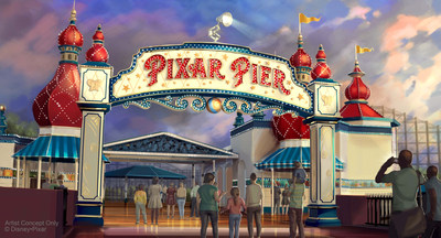 PIXAR PIER MARQUEE AT DISNEY CALIFORNIA ADVENTURE (ANAHEIM, Calif.) ? When Pixar Pier opens on June 23 at Disney California Adventure park, guests will enter the permanent new land through a dazzling new Pixar Pier marquee. This reimagined land will feature four whimsical neighborhoods representing beloved Pixar stories with newly themed attractions, foods and merchandise. The Pixar Pier marquee will be topped with the iconic Pixar lamp later in the year. (Disney?Pixar/Disneyland Resort)