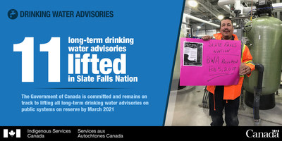 Federal government and Slate Falls Nation mark significant milestone as Ontario First Nation lifts eleven long-term drinking water advisories (CNW Group/Indigenous and Northern Affairs Canada)